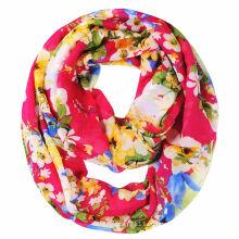 Цветочный напечатано женщин полиэстер шифон шарф (YKY1118)