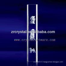 Cristal gravé par chien de laser de K9 3D avec la forme de pilier