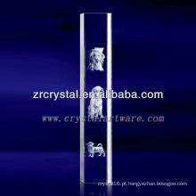 K9 3D Laser Dog Gravado Cristal com Forma de Coluna