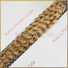 "22 ""Deep Wave Virgin Remy cabello humano # 60 Clip en extensiones de cabello para afroamericano"