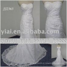 La última gota elegante del envío de la gota 2011 libre meimaid rebordeó el neckline del sweethart de la sirena el vestido de boda nupcial del cordón JJ2363