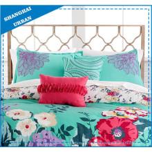 Grünes Blumenmuster Bedrucktes Polyester Bettbezug Bettwäsche