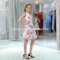 2017 moda atacado charmoso mini organza vestido de noite com pérolas coloridas