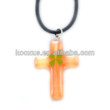 luminous acrylic colorful cross lucky four leaf clover necklace