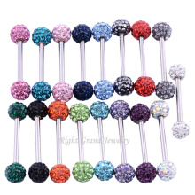 Shamballa Double Crystal Ball Industrial Barbell 316L Encantos Jóias Piercing Industrial