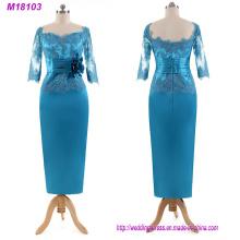 Elegante turquesa Appliques Madre de la novia vestido de encaje de tres trimestres mangas piso de longitud largo vestido de noche formal