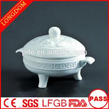 2014 heißes Verkauf Hotelgaststätte Drachemuster keramische Porzellansuppe-Schüssel mit Deckel