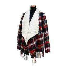 Manteaux de poncho de laine d'agneaux d'hiver de femmes de mode