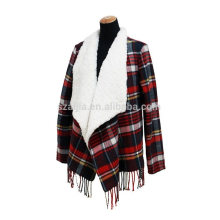 Fashion ladies winter lambs wool poncho coats