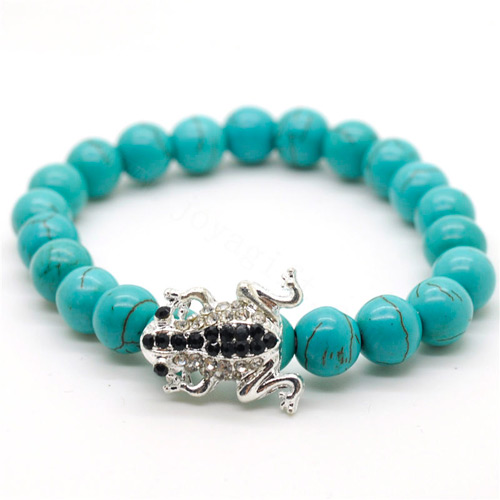 Turquoise 8MM Round Beads Stretch Gemstone Bracelet with Diamante alloy Frog Piece