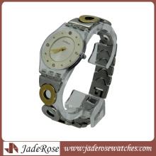 Reloj de pulsera de cuarzo transparente con banda de metal transparente para mujer