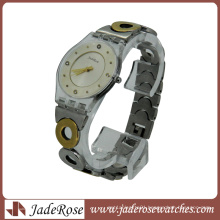 Transparent Plastic Case Metal Band Quartz Lady Watch