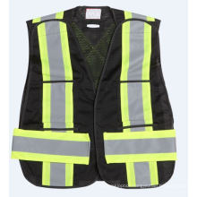 High Visible Mesh Fabric Reflective Black Safety Vest