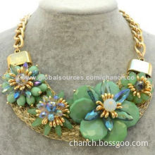 Elegant Chunky Chain Necklace with Beaded Flower Ornaments and Crystals, OEM Designs are Welcome