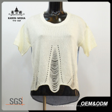 Women Special Mesh Sweater Back Patch Denim