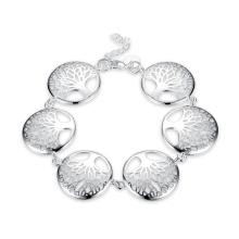 Fashion Life Tree Five Tree Shape Pendant Bracelet Silver Plated Jewelry Gift