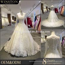 Nuevo diseño de moda especial escote de manga larga de sash ver a través de espalda de encaje de cuentas Appliqued vestido de novia