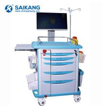 SKR054-WT Durable estación de trabajo funcional ABS Ambulance Medicine Delivery Trolley