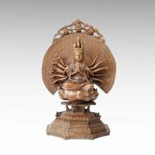 Statue de Bouddha Avalokitesvara La sculpture en bronze de massif Bodhisattva Tpfx-082