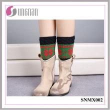 Calentadores de la pierna del color de la Navidad del copo de nieve deletéreos de alta calidad calcetines hechos punto