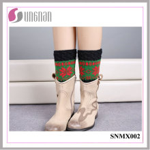 High Quality Christmas Snowflake Spelled Color Leg Warmers Knitted Socks