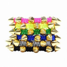 Punk Bracelets, Made of Fluorescence Color Yarn, Stud, Customized Designs are Accepted