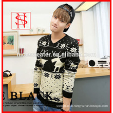 2014 Mode Mens gestrickt Weihnachten Hirsch Jacquard Pullover