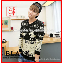 2014 fashion mens knitted christmas deer jacquard sweater