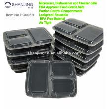 Los recipientes de comida de 3 compartimientos de Meal Prep con tapas de resistencia a fugas, horno de caja de plástico aprobado por la FDA ahorran horno