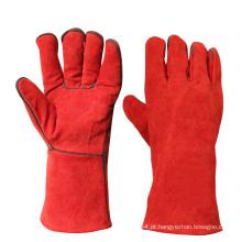 Red resistente ao calor de couro de segurança de trabalho de soldagem luvas de mão à mão
