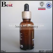 Botella de aceite de suero de vidrio ámbar de 1oz con collar dorado y gotero negro, muestra gratis, servicio de impresión de OEM, aceite de perfume a granel 2015