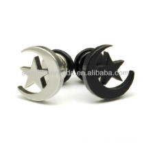 Star with moon earrings Stainless steel fashion for women,men,unisex stud charm earrings jewellery