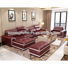 Italienisch New Burgundy l förmigen Sofa Designs mit Becherhalter