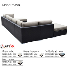 Outdoor wicker sectional sofa with waterproof and colorfast cushion.
