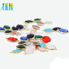 12pcs/bag Wholesale 10x14mm Oval Crystal Birthstone Charm Pendant Connector Glass Gem Stone Pendant Beads for Jewelry making