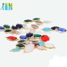 12 pçs / saco Atacado 10x14mm Oval De Cristal Birthstone Pingente Charme Conector De Vidro Gem Stone Pingente Beads para fazer Jóias