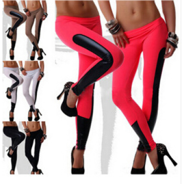 2015 Neue Designed Frauen Faux Leder Trim Stretch Leggings 23689