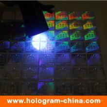 Etiqueta invisible del holograma de la seguridad del logotipo ultravioleta