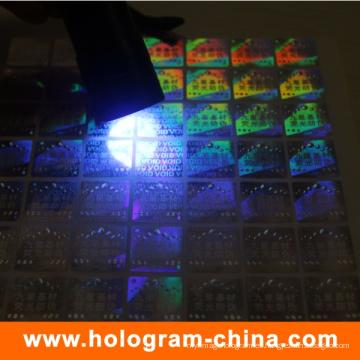 Etiqueta adhesiva anti-falsa del holograma de la tinta ULTRAVIOLETA adhesiva