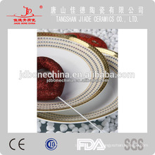 Новые горячие продажи прочный ручной росписью тиснением золотой новой косточки фарфора посуда, сделанные в Китае