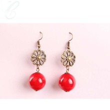 Anting-anting drop merah mutiara vintaj