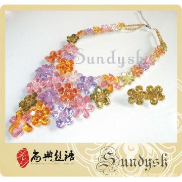 Creative Design High Quality Handmade Colored Diamond Jewelry Set