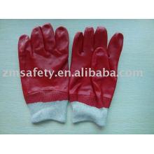 Gant trempé en pvc rouge avec poignet tricoté