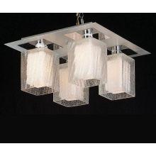 Lámparas de techo modernas de vidrio blanco sombra interior y vidrio transparente fuera (MX8105-4W)