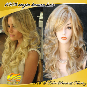 Glueless Human Hair Full Lace Wig Blonde Silk Top Full Lace Wig