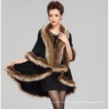 Женская мода акриловые трикотажные искусственного меха зимние шали (YKY4459)