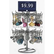Útil Counter Top Key Ring Retail Presentes de Aniversário Pendurado 24 ganchos Rack de exposição de aço inoxidável