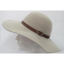 Chapeau en feutrine Fedora en feutre en laine pour fille avec chapeau en cuir (F-070007)