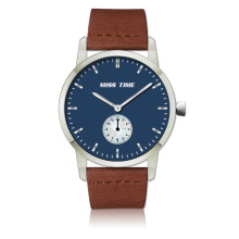 custom stainless steel back case leather men quartz watch