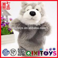 Lobo animal design plástico olhos e nariz realista animal fantoche de mão para venda